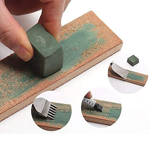 JUECAN DIY lederen mes slijpen groen handgemaakt om het blad was te slijpen om leer ambachtelijke gereedschappen malen