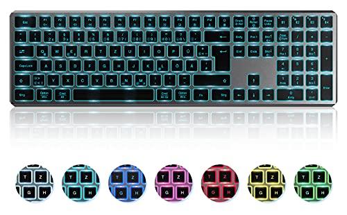 Beleuchtete Bluetooth Tastatur Kabellos, Seenda LED Multi-Device (mit 4 Bluetooth)+Easy Switch Funktastatur, Fullsize QWERTZ Deutsches Layout mit Ziffernblock für MacOS/PC/Windows/Android