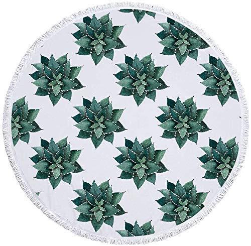 Toalla de Playa Redonda Gruesa Manta de Gran tamaño, Tela de Microfibra con Flecos de borlas de algodón, Planta Tropical Aloe Verde Novedad Impresión