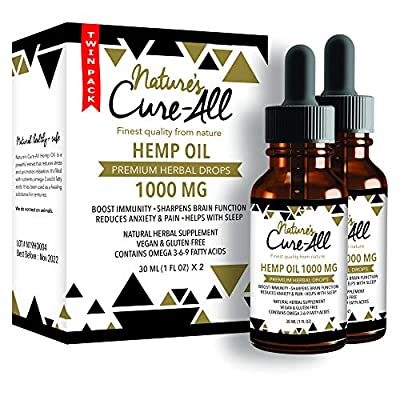 Powerful Hemp Oil Tincture- 1000mg, Organic Hemp Oil for Anxiety, Pain & Stress Relief, Provides Quality Sleep, Natural Dietary Supplement, Rich in Omega 3-6-9, Grown & Made in USA (Pack of 2) from Nature's Cure-All