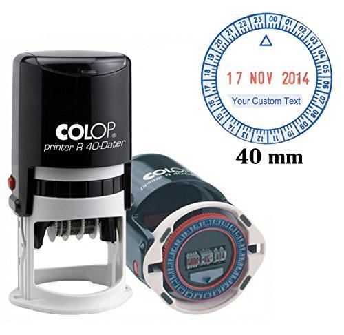 Selbstfarb Colop R40 24 Stunden Zeit Und Datumsstempel 40Mm Runden Firmenstempel Benutzerdefinierte Text Rot Blau