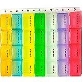 Pastillero Semanal Español 3 Tomas Diarias, Organizador de Pastillas Letras Grandes Castellano, Pastillero Con Varios Compartimentos en Español, Pastilleros Semanales Varias Tomas y Modelos, Braille