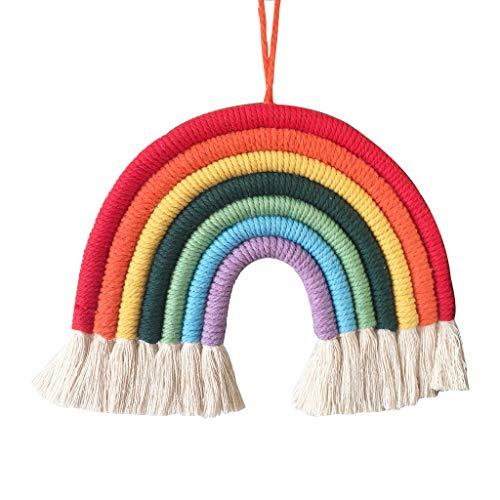 Joocyee Rainbow Tapestry Boho Rainbow Tassel Adornos para Colgar en la Pared Decoración de la habitación de los niños, 1 Ins Style Home Decoración de la habitación de los niños Colgante, 1