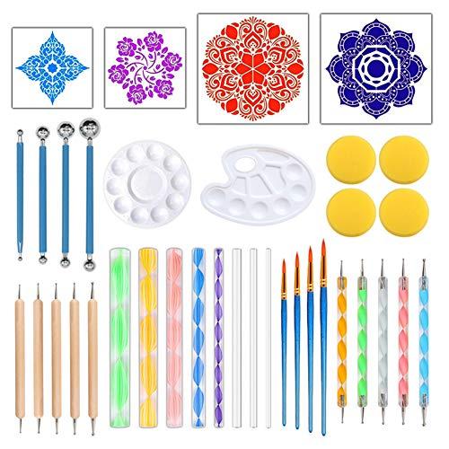 36-teiliges Mandala Dotting Tools Set – Stift Dotting Tools Schablone Ball Stylus Paint Tray für Malerei Stein, Malen, Zeichnen & Zeichnen, Kinder Handwerk, Nil Art