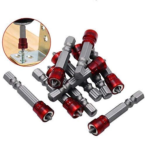 Seguro 1/4' puntas de destornillador rojo Imán principal destornillador hexagonal Vástago Con Magnetizador Cruz bit magnético de mano eléctrico Accesorios for herramientas de tornillo (Color: 1pcs) Al