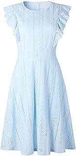 Jojckmen Women Girls Ruffle Sundress Party Dresses Summer O Neck Sleeveless Slim