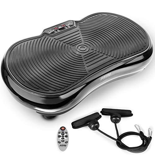FITFIU Fitness PV-100 Plataforma vibratoria oscilante color Negro con potencia de 400w y 9 programas, Incluye cuerdas elásticas, adecuada para adelgazar con vibración y ejercicios musculares