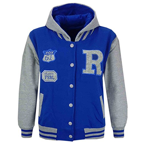 A2Z 4 Kids Mädchen baseball r hooded jacket unihoodie new age 2 3 4 5 6 7 8 9 10 11 12 13 jahre 9-10 jahre royal blau & amp; grau