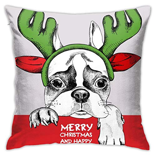 Yaateeh French Bulldog Mask Santa Antler Reindeer Throw Pillow Covers Decorative 18x18 Inch Pillowcase Square Cushion Cases for Home Sofa Bedroom Livingroom