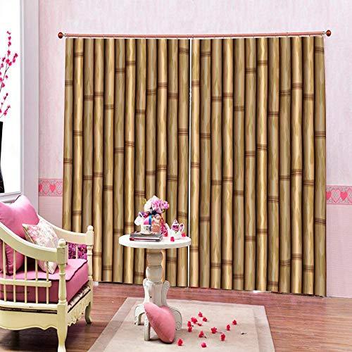 ZKHOME Vorhang Benutzerdefinierte Digital Hd Muster Angepasst Blackout 3D Fenster Vorhänge Für Wohnzimmer Bambus Vorhänge Für Wohnzimmer Blackout Vorhänge-(W) 340x(H) 245cm