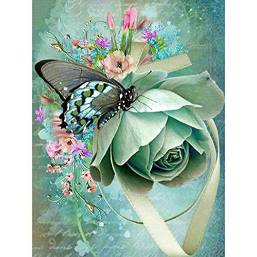 Lazodaer - Kit de pintura de diamante 5D por número para adultos, redondo completo, bordado de punto de cruz, manualidades, decoración de pared, mariposa en rosa, 30 x 39,9 cm