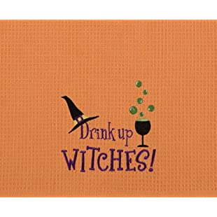 Customer reviews Drink Up Witches! Funny Halloween Orange Waffle Weave Kitchen Towel