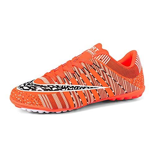 Zapatillas De Fútbol Para Hombre New 2019,Outdoor Turf Trainers Soccer Shoes Botas De Fútbol Para Hombre,Teens Wear-Resistence Football Non-Slip Black Blue (4 Color) 33-44 EU,Naranja,44