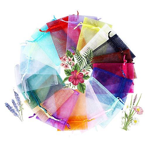 Lulonpon Mix Colour Gift Package 4x6 inch 100pcs Wedding Drawstring Bag Baby Bath Supplies Net Bag Gift Bag Candy Bag & Drawstring (100pcs,20Colors, 10 X 15 cm)