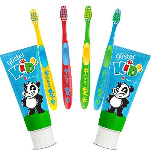 GLISTER Kids Kinderzahnpasta 2 x 85 gr.+ 4 Mundpflege Zahnbürsten