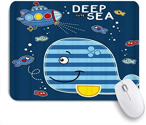 Benutzerdefiniertes Büro Mauspad,Lustiges Marineblau-niedliches Tierillustrations-U-Boot-Spiel mit Walen in der Tiefsee,Anti-slip Rubber Base Gaming Mouse Pad Mat