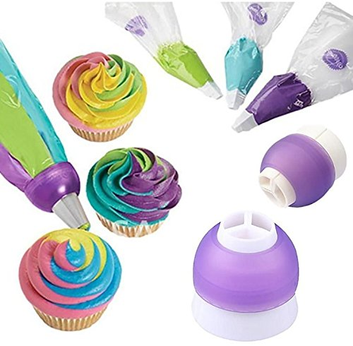 Nalmatoionme Plastique 3 Couleur Embout convertisseur glaçage gâteau Crème Pâtisserie Sac Outil de décoration (Violet)