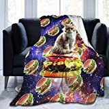 Autisum Cálido Super Suave Acogedor Fuzzy Ligero Microfibra Felpa Mantas Hamburger Space Cat On Burger Divertida Franela Fleece Throw Blanket para Sofá Sofá Cama 153X204CM