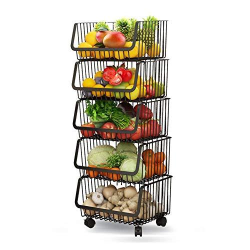 Rolling Stackable Baskets Storage Bins, 5-Tier Stainless Steel Wire Organiser Kitchen Baskets Rack with Lockable Casters for Kitchen, Pantry, Bathroom,Bedroom Garage- Black (5-Tier)