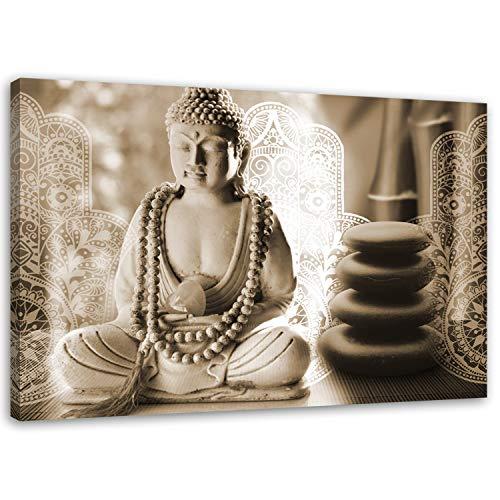 Cuadro en Lienzo Buda 90x60 cm Impresion en Calidad fotografica zen spa sepia