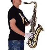 Tenor Saxophone,Bb Sax,Muslady Antique Finish Brass Body White Shell Keys with Carry Case Cleaning Cloth Brush Sax Neck Straps