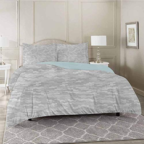 YUAZHOQI 3 Pieces Bedding Duvet Cover Set, Puzzle Like Pattern with Symmetric and Fractal Pieces in Smokey Tones Modern Illustration, Soft Microfiber Bedding,Wrinkle, Fade, Stain Resistant, King Size