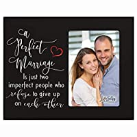 """LifeSong Milestones A Perfect Marriage Wedding Anniversary Wooden 8""""x 10"""" Picture Frame Engagement Gift for Couple, Best Friends, Newly Married Mr and Mrs. 4 x 6 Photo (Black) [並行輸入品]"""