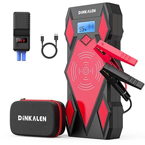 DINKALEN Booster Batterie 20000mAh 1600A Portable Jump Starter (Toute Essence / 7.0L Diesell) Démarreur de Voiture avec Ecran LCD Clips de Sécurité Charge WIrelese 10W QuickCharge Lampe LED