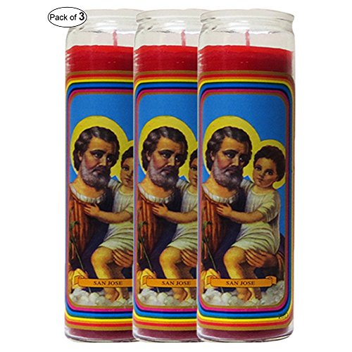 Glass Candle Red- St. Joseph (Pack of 3)