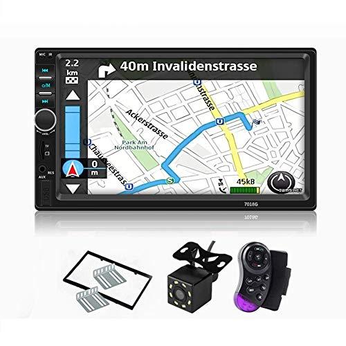 Control remoto USB SD Radio FM MiCarBa Bluetooth Car Stereo 7 pulgadas HD Pantalla t/áctil 2 Din In-Dash MP5 Reproductor de MP3 Audio Video Amplificador con manos libres CL7010B AUX