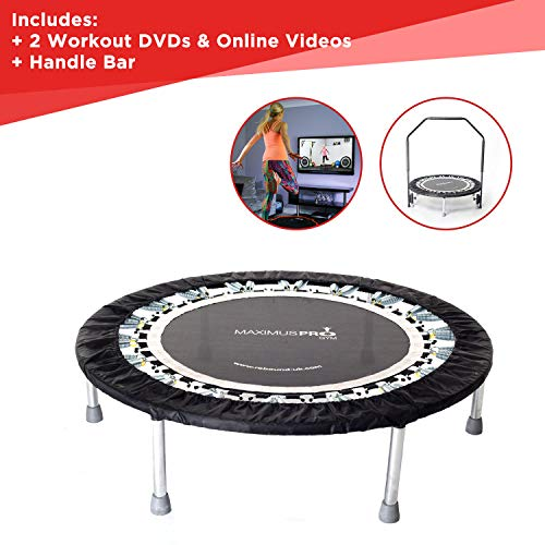 Maximus Pro Gym Rebounder Mini Trampoline with Handle bar. Includes 2 x Awesome...