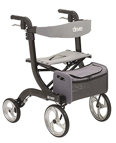 Drive Medical Nitro Euro Style Rollator Walker, Standard Height, Black