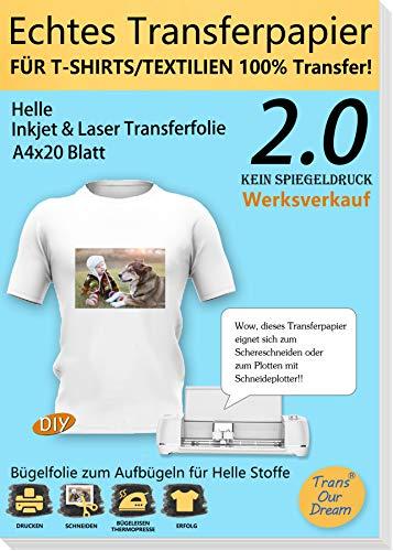 TransOurDream ECHTE Inkjet/Laser Transferfolie Transferpapier,DIN A4X20 Blatt,Bedruckbare Bügelfolie für helle T Shirts/Textilien,Kein gespiegelt drucken,Folie für Tintenstrahldrucker(Trans-2-20)
