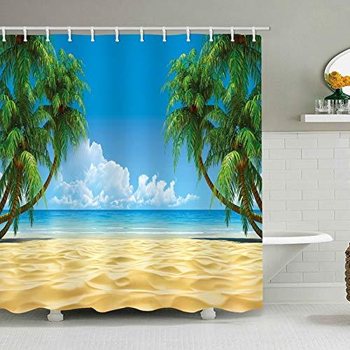 Strand Duschvorhang Kokosnussbaum blauen Himmel Meer Strand Duschvorhang hochwertige wasserdichte Polyester wasserdichte schimmeldichte Duschvorhang für Heimtextilien Bad Display A1 180x200cm