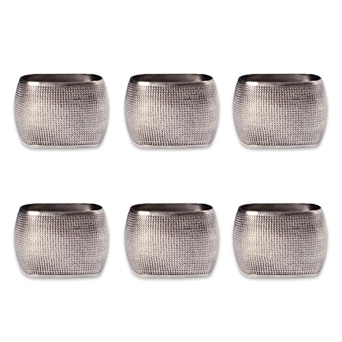 DII Decorative Napkin Ring Set for Family Dinners, Holidays, Weddings, Indoor/Outdoor Parties or Everyday Use, One Size, Silver Textured Square, 6 Piece