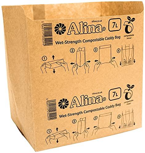 50 x Alina 6L bis 8L bioabfalltüten papier / Lebensmittel Abfallbehälter / biologisch abbaubarer brauner 7 Liter Papiersack