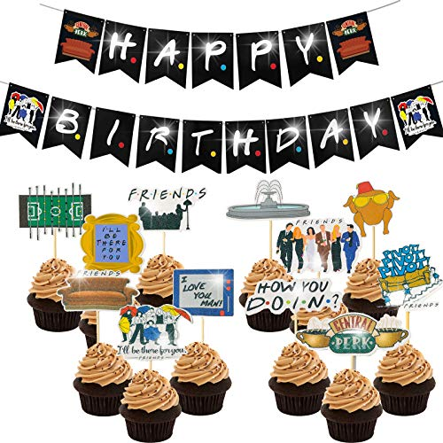 Friends Party Decorations Birthday Banner and Cupcake Topper Friends Theme Happy Birthday Party Supplies for Friends Fans The One Where Decoration TV Show Photo Photo Booth Prop