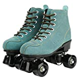 XUDREZ Cowhide Roller Skates for Women and Men High-Top Shoes Double-Row Design,Adjustable Classic Premium Roller Skates (Blue,8)
