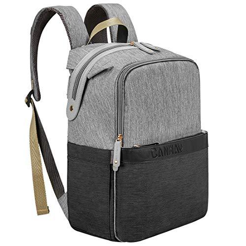 CANWAY Baby Wickeltasche Wickelrucksack Babytasche für Reise, Multifunktionale Windeltasche mit Thermotasche, Große Kapazität Wasserdicht Babyrucksack für Mama und Papa (Grau&Schwarz)