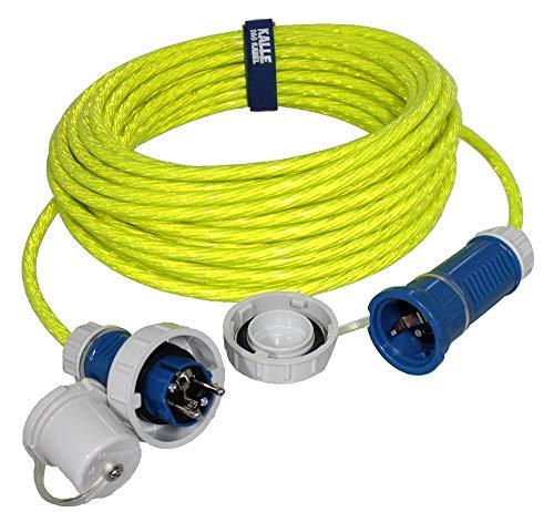 Reflektierendes Stromkabel Schuko Kabel ideal für Feuerwehr, THW und Polizei mit wasserdichtem Stecker und Kupplung IP68 von KALLE DAS KABEL 15 Meter