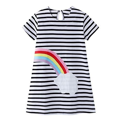 FEIXIANG Baby Mädchen Kurzarm T-Shirt Kleid Kleinkind Kinder Rundhalsausschnitt Gestreifte Bedruckte Meerjungfrau Cartoon Bedruckte Sommerkleid