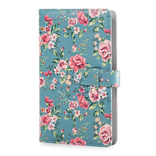 CAIUL Compatible 96 Pockets Mini Wallet Photo Album with PU Leather Cover for Fujifilm Instax Mini 9 8 8+ 70 7s 90 25 26 50s Films (Flower)