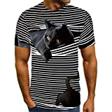 Unisex Stylish 3D Printed Cat Graphic T-Shirts Short Sleeve Novelty Daily Casual Tees Tops for Women Men,S-5XL (Style 8, M)