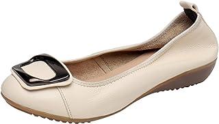 35ecbff240956f Jamron Femmes Cuir Véritable Confortable Chaussure Doux Semelle Ballerines  Bas Talon Compensé Slippers