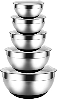 REGILLER Stainless Steel Mixing Bowls with Lids (Set of 5), Nesting Bowls Black Non-Slip Silicone Bottoms Polished Mirror Kitchen Bowls Ideal for Mixing, Baking, Prepping