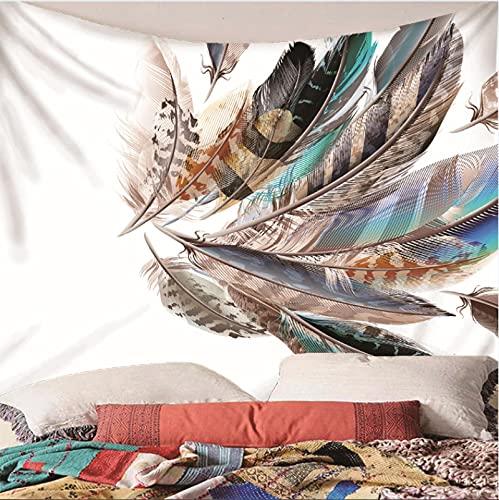 Weibing Tapiz de impresión en Color 3D Estilo nórdico Pluma Colorida patrón Creativo decoración del hogar tapices Arte de Pared para Habitaciones 240(An) x220(H) cm