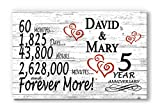 Broad Bay Personalized 5 Year Anniversary Sign Gift Fifth Wood Wooden Wedding Anniversary 5th for Couple Him Or Her Days Minutes Years