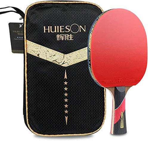 REWD Sets de Ping Pong Paleta de Ping Pong 5 Capas de Madera y 2 Capas de Fibra de Carbono Paleta de Ping Pong for Principiante e Intermedio / 6 Estrellas/Mango Largo (Size : Short Handle)