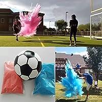 性別発表サッカーボール、ピンクとブルーのパウダーキット 男の子/女の子/性別発表パーティー大きなサッカーボール ほとんどのパウダー 大きなパフと素晴らしい写真機会