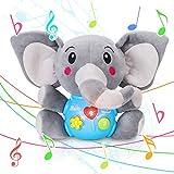 Tacobear Peluche Elefante Juguete Felpa Elefante Interactivo Juguete para Bebé Juguetes Musicales Juguetes Sonido con Música Ligero Función Juguetes educativos Regalos para bebés Niños 6 Meses